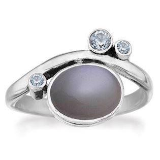 Rabinivich 50916354, Silver ring with moonstone and topaz, ring size 54