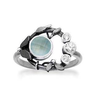 Rabinivich 51316353, Silver ring with pendant with aqua calcedon and zirkonia