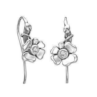 Rabinivich 50416500, Silver earrings of small leaves