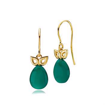 Izabel Camille Scarlet earrings in gold-plated silver with green onyx, model a1667gsgreen