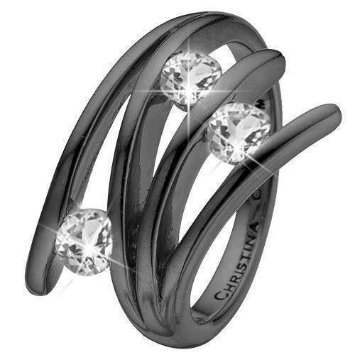 Christina Collect Black silver charm Fingerrings, model 4.1.D-55