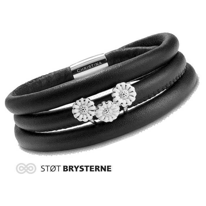 san francisco 04aa5 c8826 Christina Watches black leather bracelet with silver daisy
