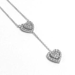 Elegant double silver heart with zirconia and 45 cm chain