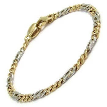 Canes plain, 14 kt two coloured gold bracelet