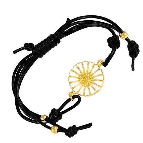 Gold plated white Daisy with black leather bracelet from Lund Copenhagen