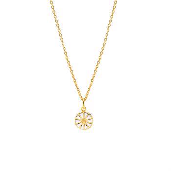 Lund Copenhagen daisy 24 carat gold-plated pendant with white enamel, model 90200938-M