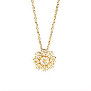 24 carat gold-plated daisy necklace with white enamel from Lund Copenhagen, model 902027-M