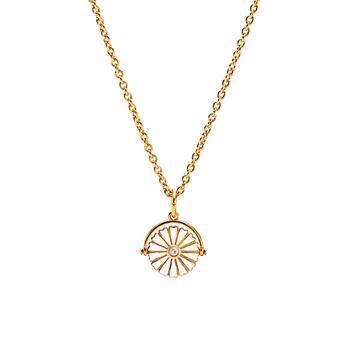 24 carat gold-plated daisy pendant with white enamel and 45 - 48 cm chain from Lund Copenhagen