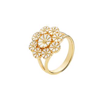 Lund Copenhagen daisy ring with 24 carat gold-plated surface and white enamel, model 907027-M