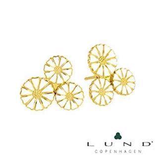 Lund Copenhagen gold-plated earrings with three compound daisies, model 909007-4-M