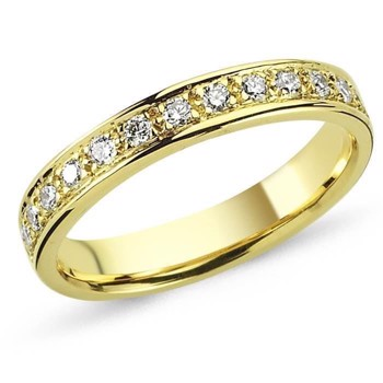 14 carat gold ring String ring from Nura with 0,01 - 0,35 carat diamonds