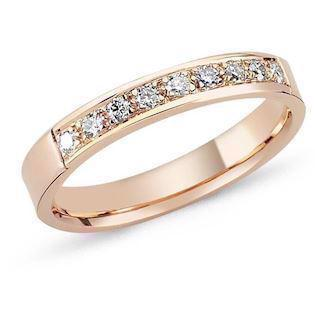 14 carat rosa gold ring String ring from Nura with 0,01 - 0,35 carat diamonds