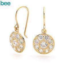Zirconia Medallion Hook Earrings