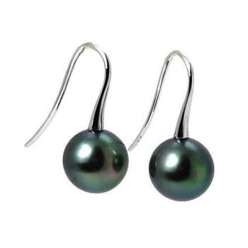 18 carat Tahiti pearl earrings 9-10 mm dark