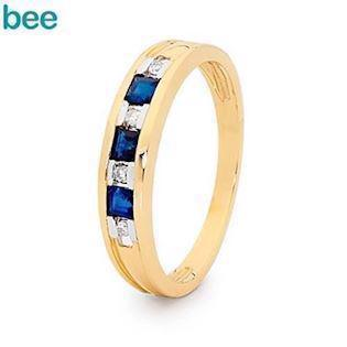 9 ct gold diamond and sapphire eternity ring