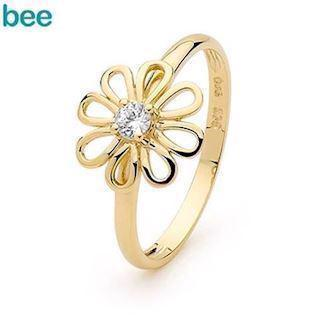 Flower Diamond Set Camelia Ring