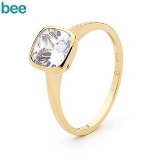 Cushion Cut Cubic Zirconia Solitaire gold ring