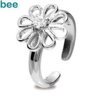 Silver toe Ring with Flower