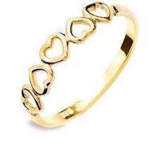 Multi heart 9 ct gold ring