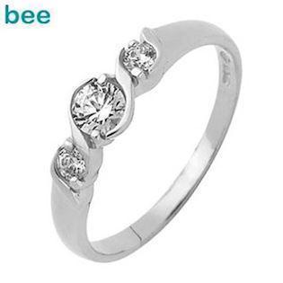 White Gold Zirconia Ring with Three Stones