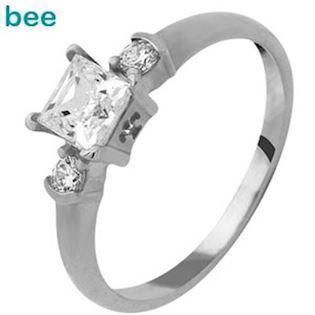 Square Cubic Zirconia Solitaire Ring White Golds