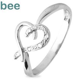 White gold heart diamond ring