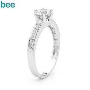 Stunning 1 carat cubic zirconia solitaire white gold ring