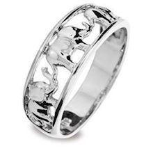 Lucky trunks up Elephant 9 ct white gold ring