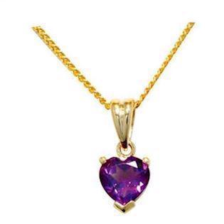 9 ct Gold pendant with heart shaped Amethyst