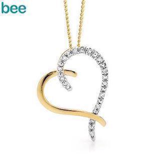 9 ct diamond heart pendant