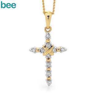 9 ct white gold diamond cross with red gold effects