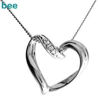 9 ct Sliding white gold and Diamond heart